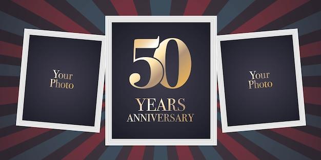 Icona di vettore di anniversario di 50 anni, logo. elemento di design modello, biglietto di auguri con collage di cornici per foto per il 50 ° anniversario