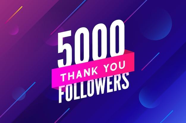 5000 follower vettore saluto social card grazie follower