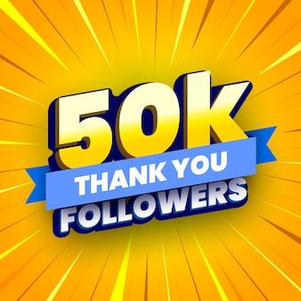 Banner di 50000 seguaci con nastro blu