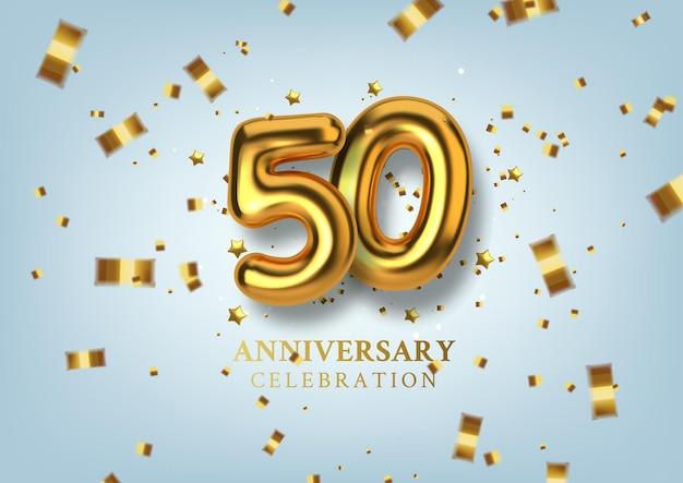 Celebrazione del 50 ° anniversario numero sotto forma di palloncini dorati.