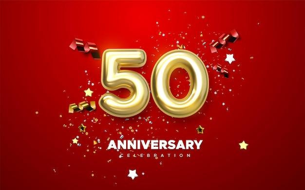 Segno di celebrazione del 50 ° anniversario con numero d'oro 50 e coriandoli scintillanti