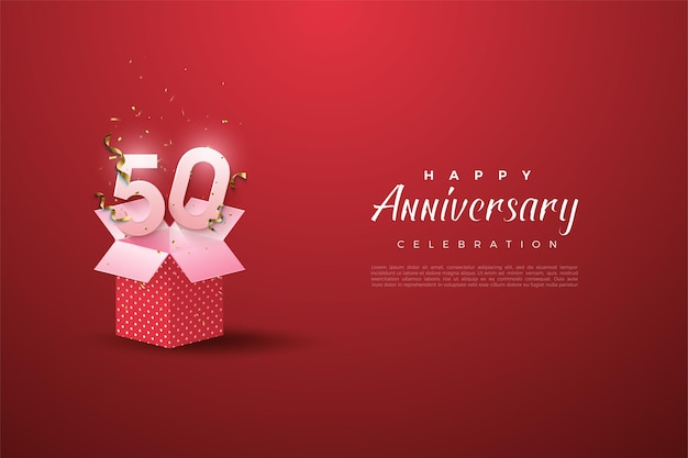 50 ° anniversario con numeri di confezione regalo aperti e illustrazione