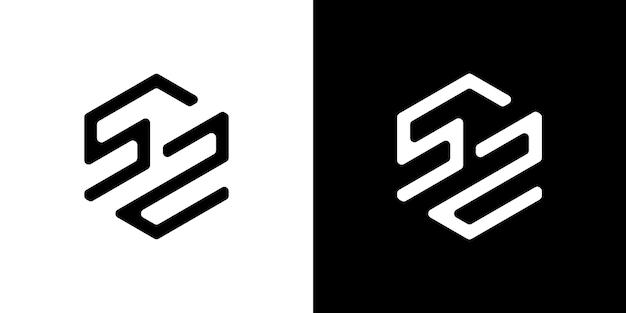 52 letter logo design poligono monogram icon vector template vettore premium