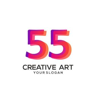 55 numero logo gradiente design colorato