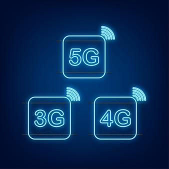 Set di simboli al neon 5g, 4g, 3g isolato su sfondo, tecnologia di comunicazione mobile e rete di smartphone. illustrazione di riserva di vettore.