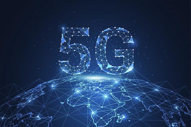 Connessione di rete globale 5g. il poligono collega punto e linea