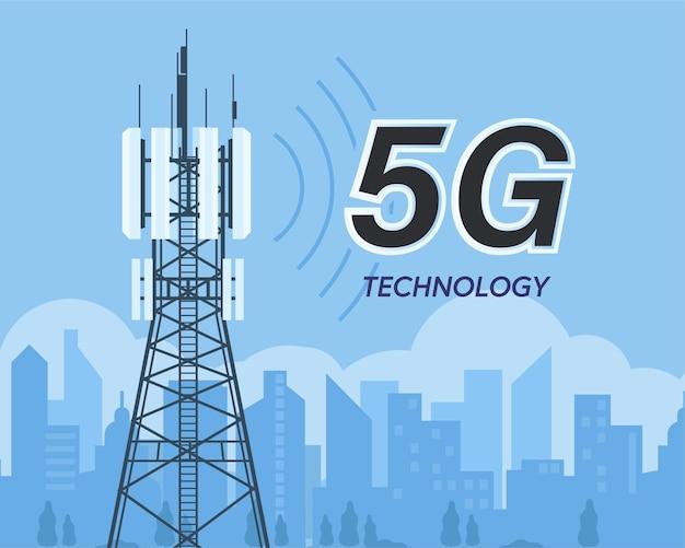 Illustrazione della tecnologia wifi internet wireless ad alta velocità della rete globale 5g