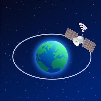 Composizione isometrica di internet ad alta velocità 5g con vista dell'orbita del globo terrestre e dell'immagine satellitare artificiale