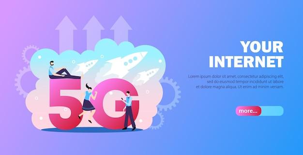 Modello di banner internet 5g
