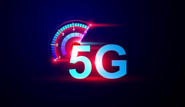 Logo di internet della rete 5g con il vettore del misuratore di velocità.