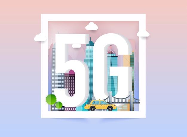 Logo di rete 5g nella città intelligente