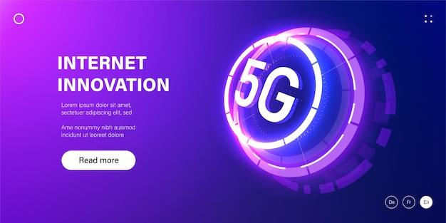 Banner di tecnologia di rete 5g