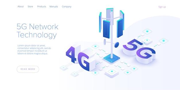 Tecnologia di rete 5g in illustrazione isometrica. concetto di servizio di telecomunicazione mobile senza fili. modello di destinazione del sito web di marketing. sfondo di connessione velocità internet smartphone.