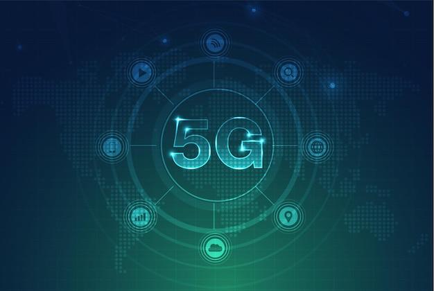 Rete 5g internet wireless connessione wi-fi concetto di rete di comunicazione smart city alta velocità