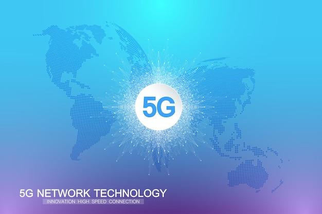 Sistema wireless di rete 5g e sfondo della connessione internet. rete di comunicazione simbolo 5g. bandiera di concetto di tecnologia aziendale. illustrazione vettoriale