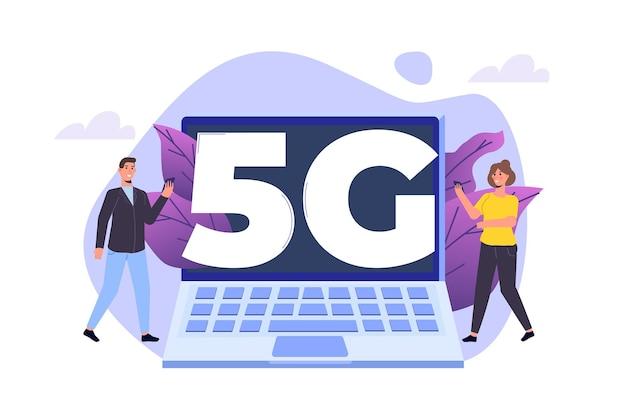 Sistemi wireless di rete 5g, concetto di internet mobile ad alta velocità. illustrazione vettoriale