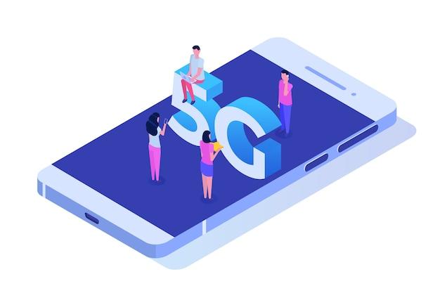 Sistemi wireless di rete 5g, concetto isometrico di internet mobile ad alta velocità.