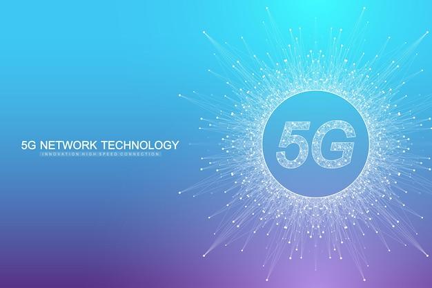 Sistemi wireless di rete 5g e illustrazione vettoriale di internet. rete di comunicazione. bandiera di concetto di affari. banner di concetto di intelligenza artificiale e apprendimento automatico.