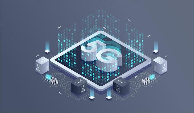 Tecnologia wireless di rete 5g. rete di comunicazione, illustrazione isometrica di affari.
