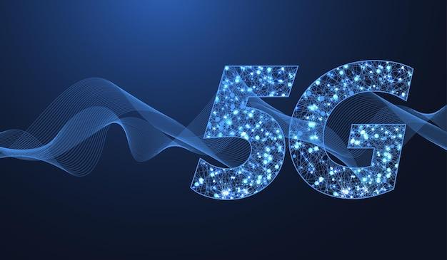 Concetto di tecnologia wireless di rete 5g. icona banner web 5g per business e tecnologia, segnale, velocità, rete, big data, tecnologia. vettore di flusso d'onda simbolo 5g.