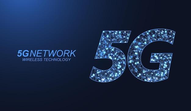 Concetto di tecnologia wireless di rete 5g. icona banner web 5g per business e tecnologia, segnale, velocità, rete, big data, tecnologia, iot e icone del traffico. vettore di flusso d'onda simbolo 5g.