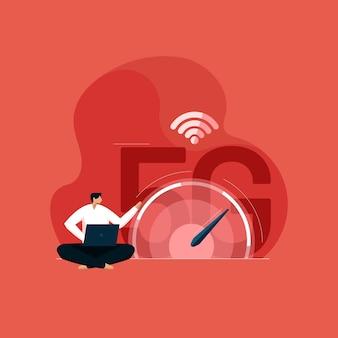 Tecnologia wireless di rete 5g internet ad alta velocità con misuratore di velocità digitale tecnologia di quinta generazione