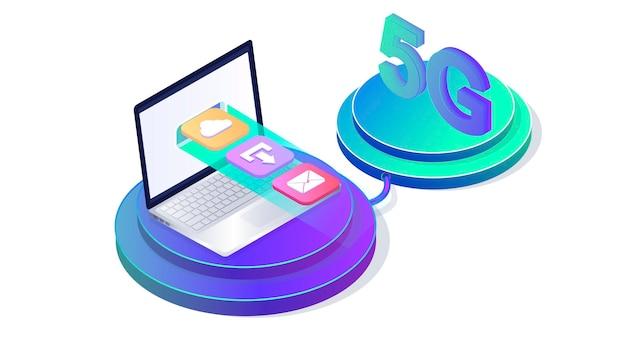Tecnologia wireless di rete 5g aggiornamento del trasferimento dati super veloce icona del pulsante box per il sito web