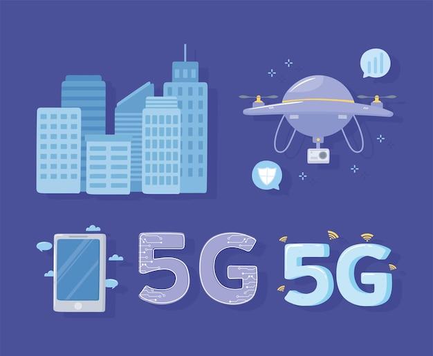 5g smartphone drone città connessione internet tecnologia wireless illustrazione