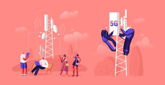Concetto di tecnologia 5g. cartoon illustrazione piatta