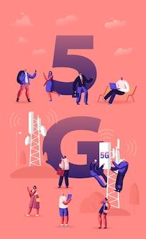 Concetto di tecnologia 5g. i lavoratori sulla torre del trasmettitore hanno installato internet mobile ad alta velocità, illustrazione piana del fumetto