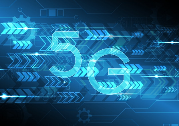 Icona della tecnologia 5g con sfondo astratto circuito freccia