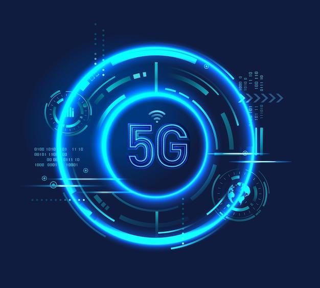 Icona del logo della tecnologia 5g con circuito digitale, luce al neon, futuristico vettore hud. connessione internet wireless ad alta velocità.
