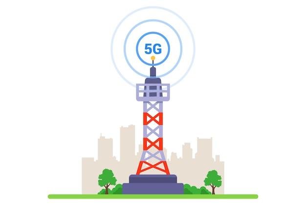 Torre 5g su sfondo bianco. internet ad alta velocità di nuova generazione. illustrazione vettoriale piatto.