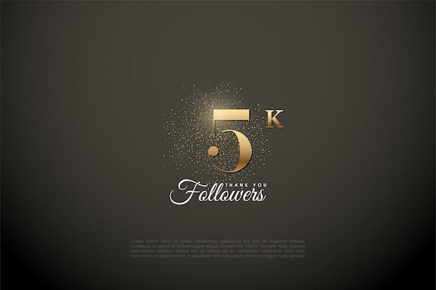 5k seguaci illustrati con numero d'oro e glitter