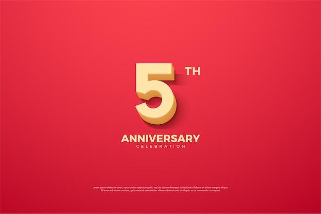 5 ° anniversario con numeri di cartoni animati 3d.