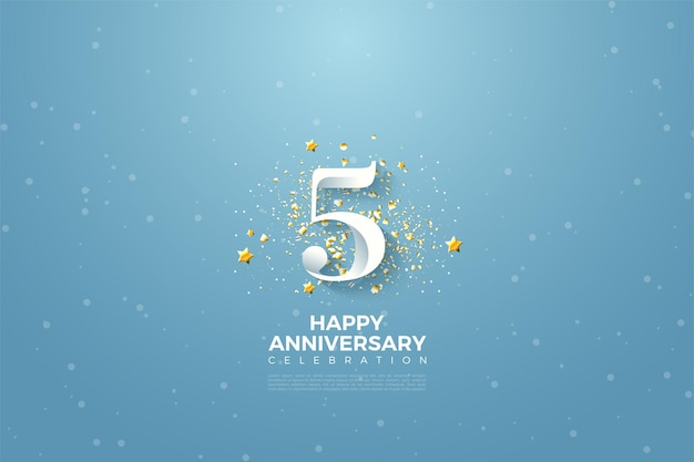5 ° anniversario con illustrazione di numeri e stelline.