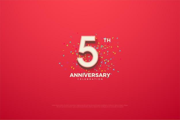5 ° anniversario con numeri e doodle colorato sul rosso