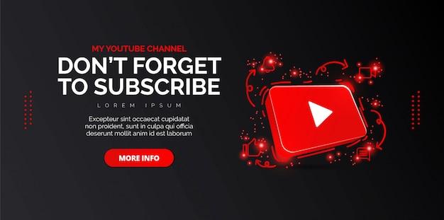 6.3d youtube icona astratta illustrazione concettuale isolata sul nero.