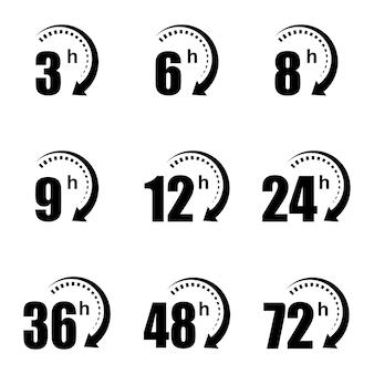 Icone della freccia dell'orologio 6, 8, 9, 12, 24, 36, 48 ore. simboli del sito web del tempo rimanente di affare online.