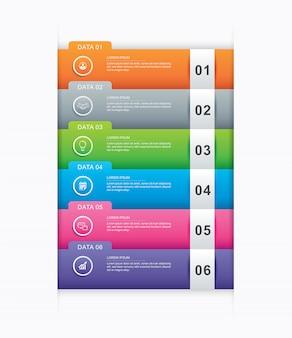 6 modello di indice di carta di tab di infographics di dati.