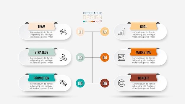 Modello di infografica del flusso di lavoro in 6 fasi