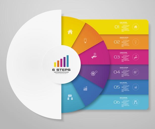 Elementi di infographics del grafico del ciclo di 6 passaggi per la presentazione dei dati.