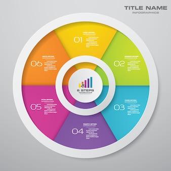 Elementi di infographics del grafico del ciclo di 6 punti. eps 10.