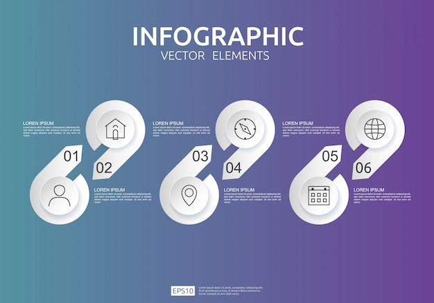 Infografica a 6 passaggi. modello struttura timeline con etichetta in carta 3d