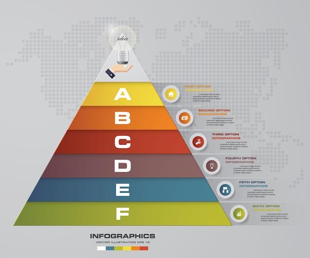 Piramide di 6 passi con spazio libero per il testo su ogni livello.
