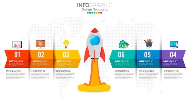 6 passaggi di infografica di avvio con lancio di razzi. concetto di affari e finanza.