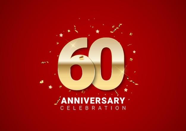 Sfondo di 60 anni con numeri d'oro, coriandoli, stelle su sfondo rosso brillante per le vacanze. illustrazione vettoriale eps10