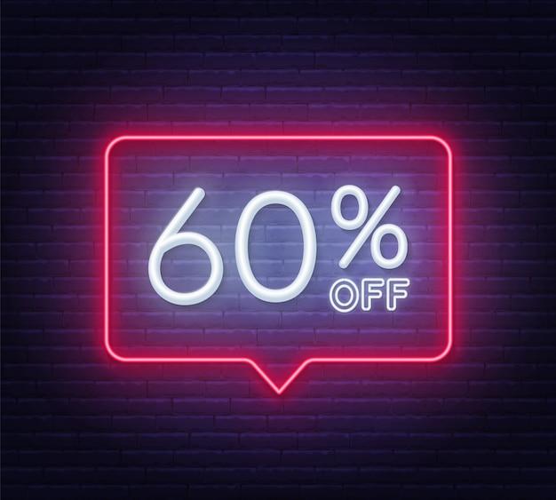 60 percento di sconto al neon sul muro di mattoni