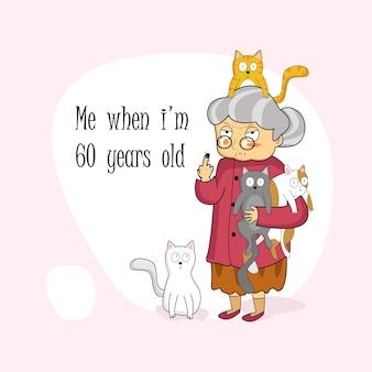 Illustrazione del personaggio della nonna di 60 anni con un simpatico gatto domestico