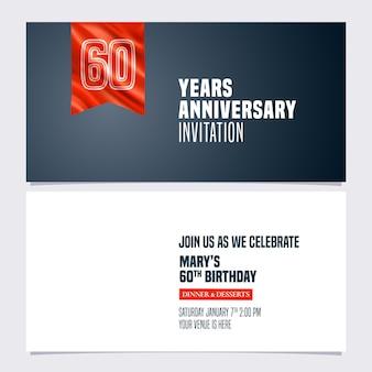 Invito anniversario 60 anni, biglietto per il 60 ° compleanno, invito a una festa con bandiera rossa